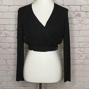 Bebe Long Sleeve Wrap Crop Top Black Small